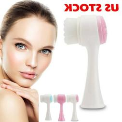 Double Sides Silicone Facial Cleansing Brush Massager Skin C